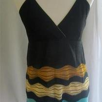 M Missoni Knit Tank Italy Size 46 Us 10 Spaghetti Strap Top Black Gold Aqua Photo