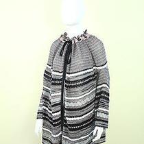 M Missoni Metallic Knit Stripe Print Poncho Sweater Cape Shawl Tunic Scarf 8/m/l Photo