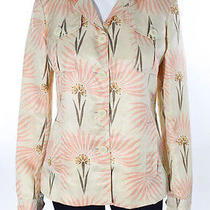 M Missoni Multicolored Floral Silk Long Sleeve Collared Button Down Shirt Sz 6 Photo