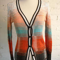 M Missoni Orange Aqua Brown Knit Cardigan Sweater 44 Us 8 Photo