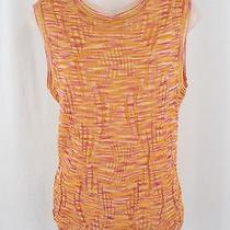 M Missoni Orange Pink Gold Cotton Blend Sleeveless Textural Knit Shirt Top 46 12 Photo