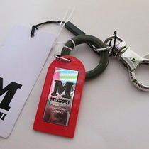 M Missoni Red Enamel Green Ring Silver Plate Signature Key Fob Nwt 145 Photo