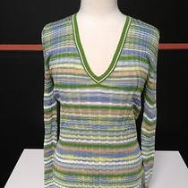 M Missoni v Neck Green Peach Blue Gray Stripe Ribbed Sweater Us 12 13449 Photo
