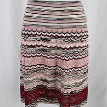 M Missoni Women's Blush Beige Red Multi Color Knit Aline Skirt Sz 42 8 Photo