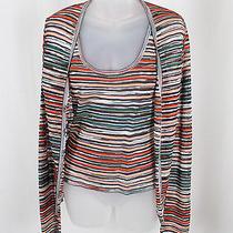 M Missoni Women's Peach Black White Striped Sweater Cardigan Top Twin Set Sz 2 Photo