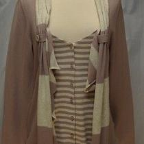 M Moth Anthropologie  Dusty Violet Detailed Cardigan Sweater Lightweight Photo