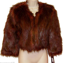 M Nwt 139 Inc Macys Faux Fur Shaggy Crop Bolero Jacket Status Burnt Amber Photo