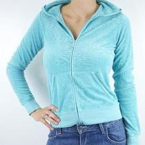 M Nwt Authentic Juicy Couture Terry Turquoise 10 Zip Jacket Hoodie Jgmu0028 Photo