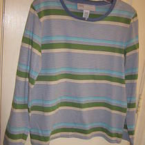 M Pullover Top by Sag Harbor New Gray Aqua Green Photo