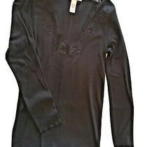 M/regular Black Victoria's Secret Pajama Set -Long Sleeve v-Neck Top With Pant  Photo