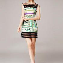 M Roberto Cavalli Silk Organza Colorful Medium Dress Nwt Photo