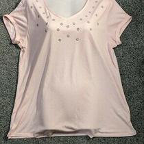 m&s Blush Pink v-Neck Short Sleeves Top Beads Design Front Size 16 Photo