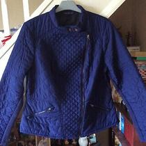 m&s Collection Navy Quilted Barbour Style Jacket Coat Side Zip Size 16 Photo