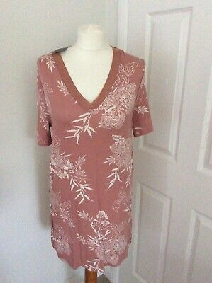 M&S Collection Top Tunic - Size 10 (38) Blush Pink - BNWT V Neck SS  -Stretch Photo