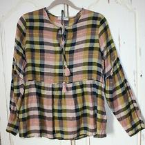 m&s Marks Spencer Pink Green Gold Check Blouse Top Long Sleeve Shirt Size 12  Photo