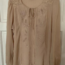 m&s Per Una 16 Blush Pink Colour Long Sleeve Top With Embroidery and Tie Neck Photo
