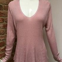 m&s Per Una Blush Pink Nude v-Neck Long Sleeve Jumper Size 12-14-16 Bnwot Photo