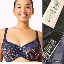 m&s Womens Non-Padded Full Cup Bra Uk 32h Lace Navy Wild Bloom New  Photo