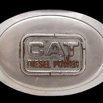 Ma01165 Vintage 1970s Cat Diesel Power Oval Silvertone Belt Buckle Photo