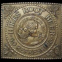 Ma23169 Vintage 1970s Hires Root Beer Solid Brass Fantasy Belt Buckle Photo