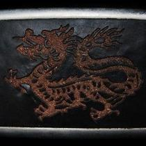Ma29130 Very Cool Chinese Dragon Leather Fantasy Art Belt Buckle Photo