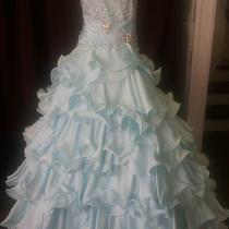 Mac Duggal Sz 14 Aqua Pageant Dress Photo