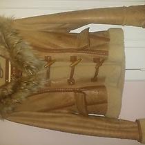 Mackage Camel Shearling Jacket W Rabbit Fur Hood Xs Photo