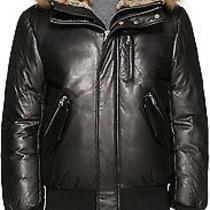Mackage Glen Black  Lambskin Leather Down Fur Jacket Size 38 Medium M Hood Coat Photo
