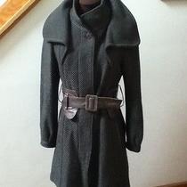 Mackage Tessy Size M Green Wool Cashmere Blend Corset Leather Belt Coat Jacket Photo