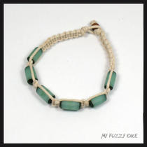 Macrame Bracelet Off White Cord With Aqua Beads 7.5 Inch Beach Wear Photo