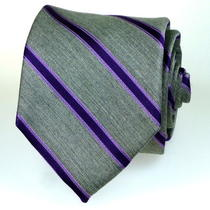 Macy's Club Room Nwt Tie  Heather Gray Plum Lavender Purple Stripe 50 60
