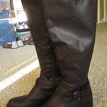 Macy's Rampage Womens Size 9 Brown Faux Leather Riding Boots Photo