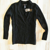 Macy's Style & Co Black & Silver Metallic v-Neck Sweater Sz S Nwt Photo