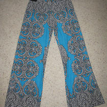 Macy's style&co. Floral Pants Black Blue Small Photo