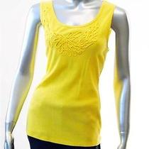 Macy Style & Co Yellow Embroidery Tank Sz Large Photo