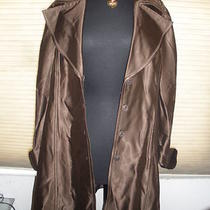 Macys Inc Shiny Brown Trench Coat Jacket Size Large Photo