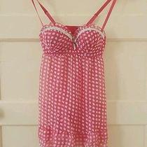 Macys Rampage Sexy Cute Pink Polka Dot Bustier Lingerie Padded Sheer Tank Top Photo