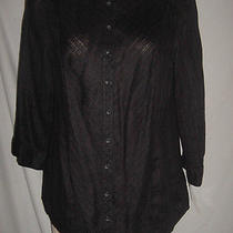 Macys Style & Co Black Linen Blouse 14 Nwt 40.00 Photo