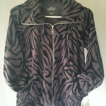 Macys Style & Co Petite Sport Black Gray Zip Jacket Nwt Size M Cotton Polyester Photo
