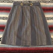 Madchen for Anthropologie Blue Contrast Stitch Grommet Skirt Size 4  Side Pocket Photo