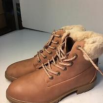 Madden Girl Boots Size 10 Frankie Blush Leather Flocking Faux Fur Sock Lining Rr Photo