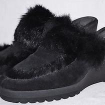 Made in Italy Black Coach Kaela Suede W Rabbit Fur Wedge Clogs Mules Shoes 9 Photo