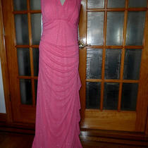 Made in Usa Betsy & Adam New 2 Layers Pink Glittering Party Dress Plus Size 14w Photo