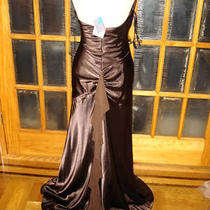 Made in Usa Betsy & Adam New Party Satin Dress With Rhinestones Brown  Size 12 Photo