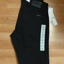 Made in Usa Men's Size 29 (31) Hudson Blake Button Fly Slim Straight Black Jeans Photo