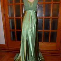 Made Usa New Betsy & Adam Party Apple Green Shiny Satin Dress Size 12 810144 Photo
