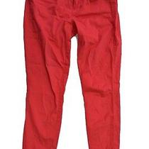 Madewell 0 Colored Coral Red Pants Skinny Ankle Crop Trendy Trendy Pant Trouser Photo