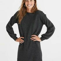 Madewell 100% Merino Wool Boatneck Button Shoulder Sweater Dress in Gray Sze 2xs Photo