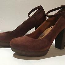 Madewell 1937 Rust Brick Red Brown Suede Platform Woodgrain Block Heel 10 Photo