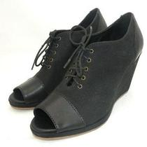 Madewell 215 Canvas Sidewalk Wedges Heels 9 Shoes Black Photo